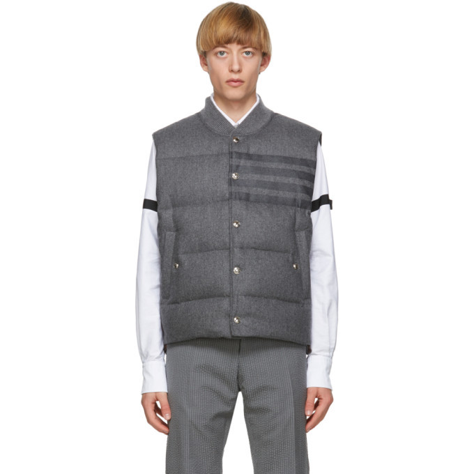 Photo: Thom Browne Grey Down 4-Bar Flannel Vest