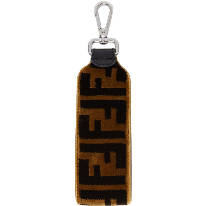 Photo: Fendi Brown and Black Large Velour Forever Fendi Keychain
