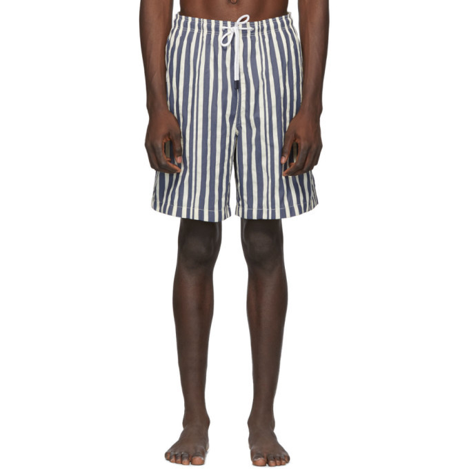 Photo: Solid and Striped Blue and White Stripe The Long Classic Swim Shorts