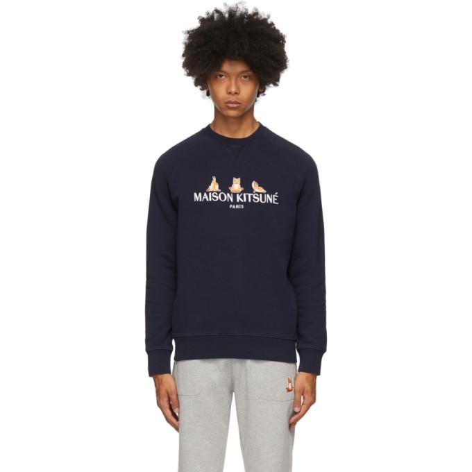 Photo: Maison Kitsune SSENSE Exclusive Navy 3 Yoga Foxes Sweatshirt
