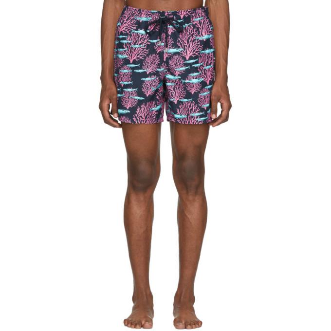 Photo: Vilebrequin Navy Coral Moorea Swim Shorts