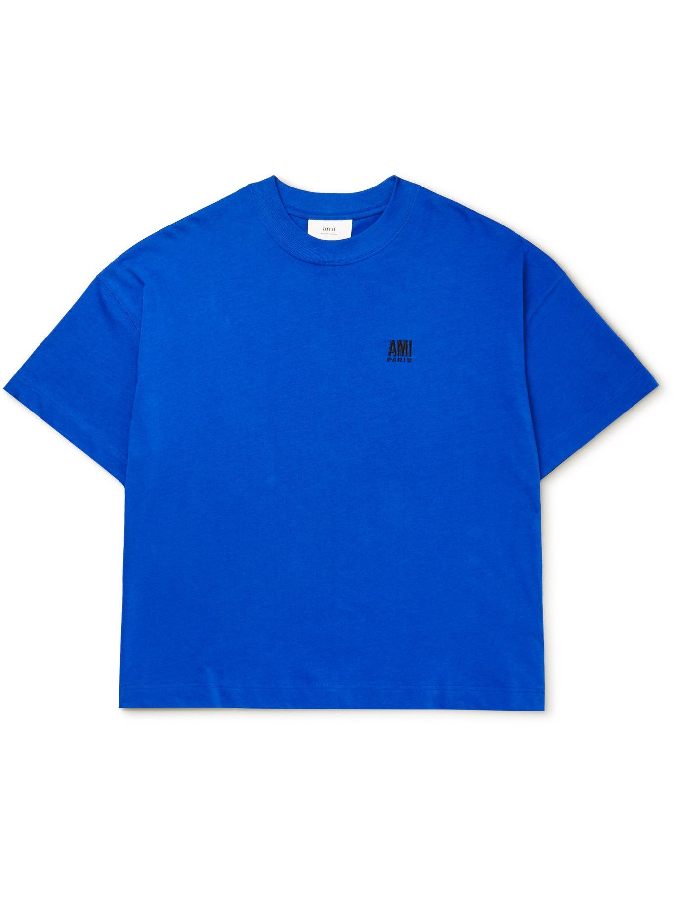 Photo: AMI PARIS - Oversized Logo-Embroidered Cotton-Jersey T-Shirt - Blue