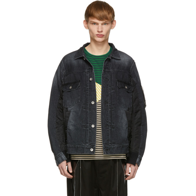 Photo: Sacai Black Denim and Nylon Jacket