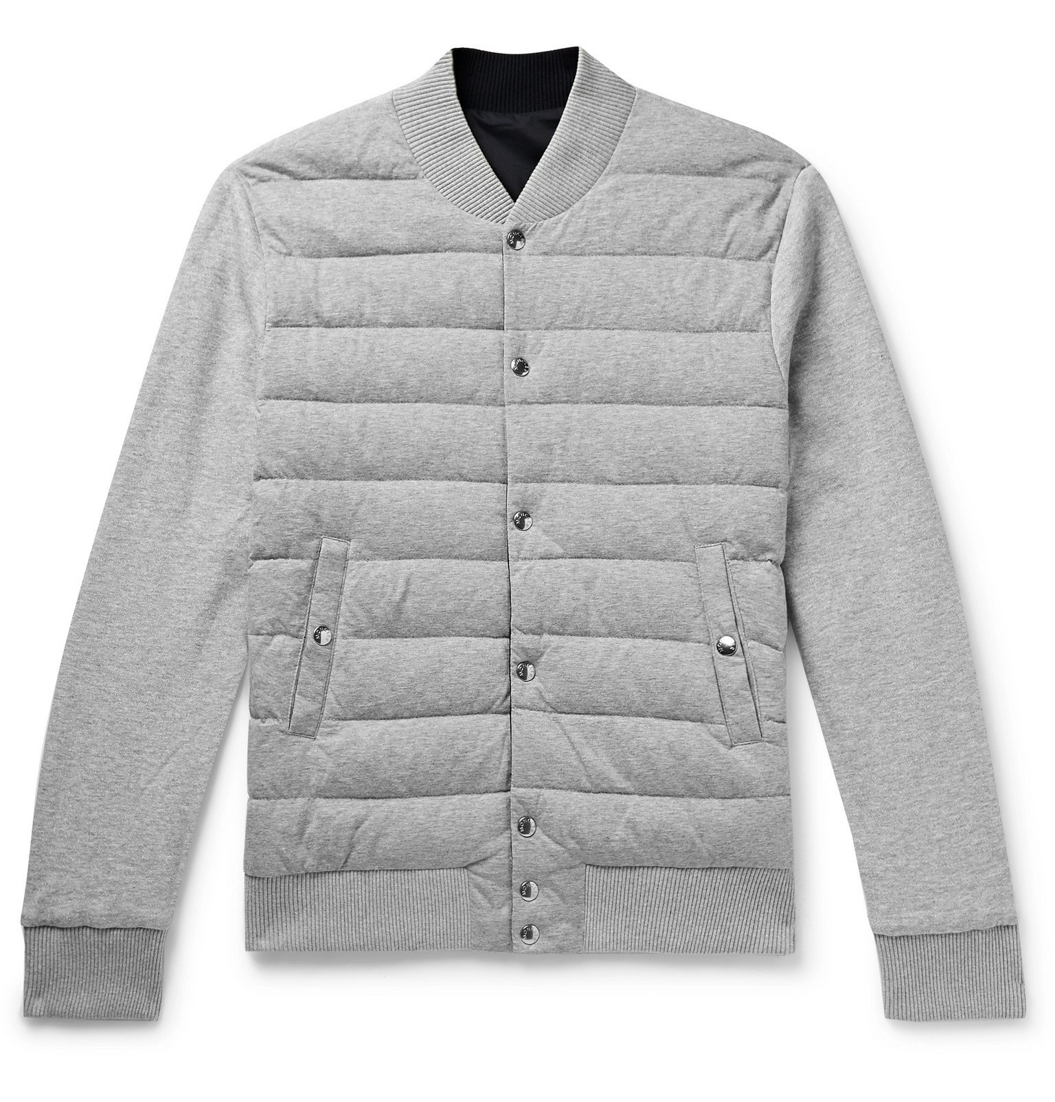 Photo: Moncler - Reversible Mélange Cotton-Jersey and Shell Down Bomber Jacket - Blue