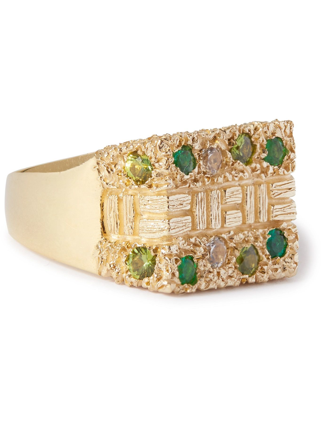 Photo: Bleue Burnham - Sissinghurst 9-Karat Gold, Emerald and Sapphire Signet Ring - Gold