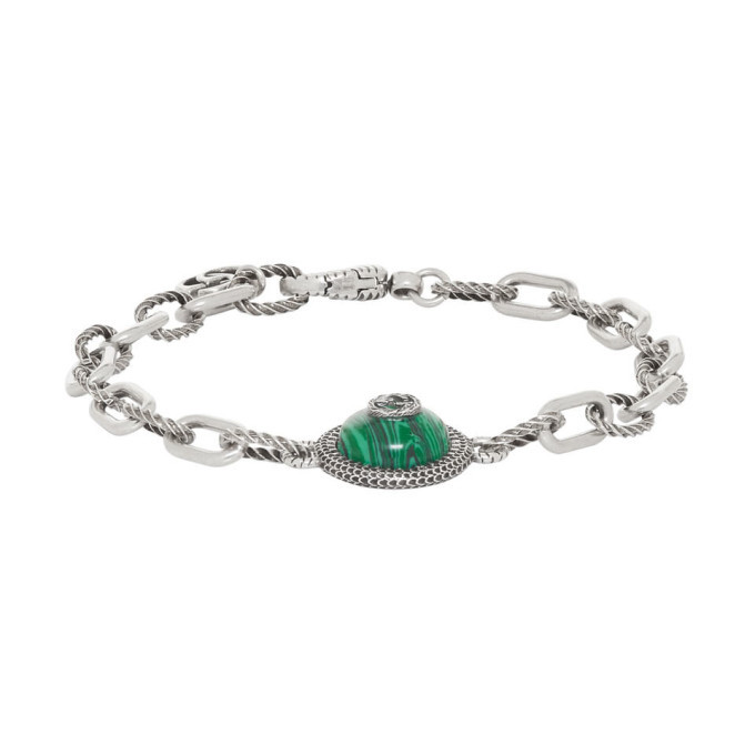 Photo: Gucci Silver and Green Gucci Garden Bracelet