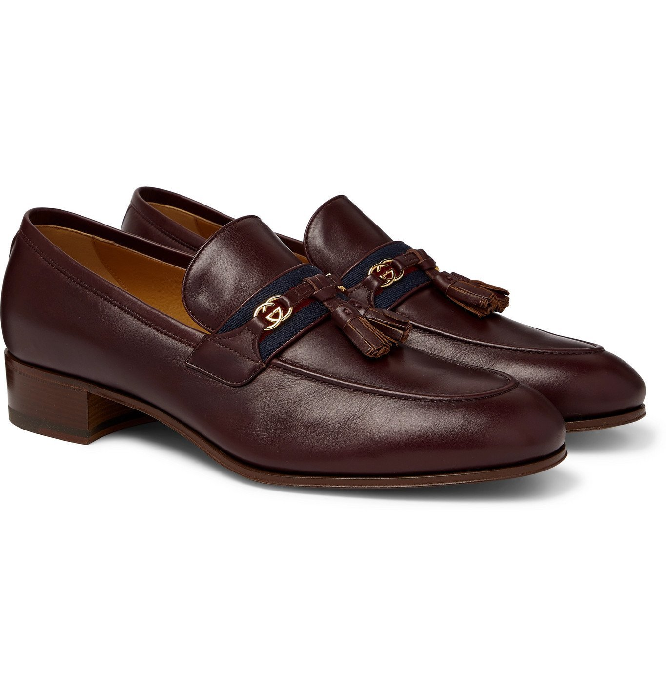 Photo: Gucci - Paride Webbing-Trimmed Tasselled Leather Loafers - Burgundy