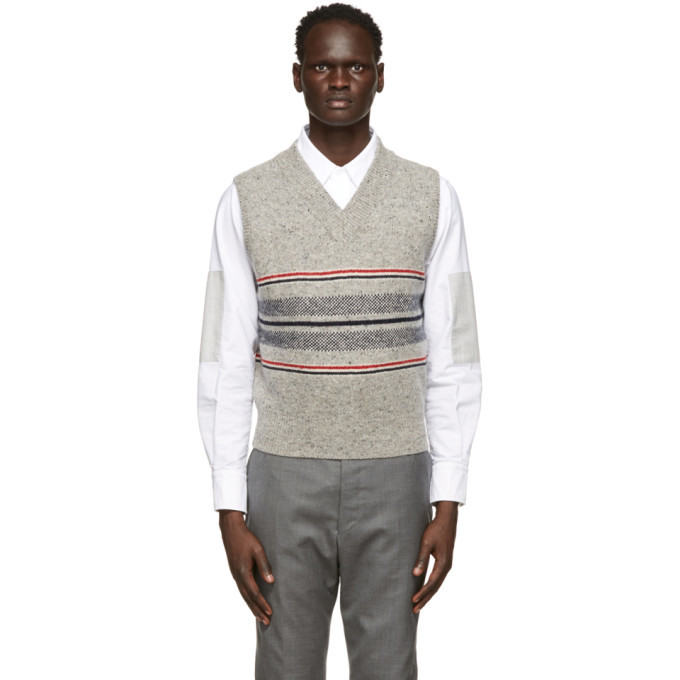 Photo: Thom Browne Grey Mohair Jacquard Cricket Stripe Vest