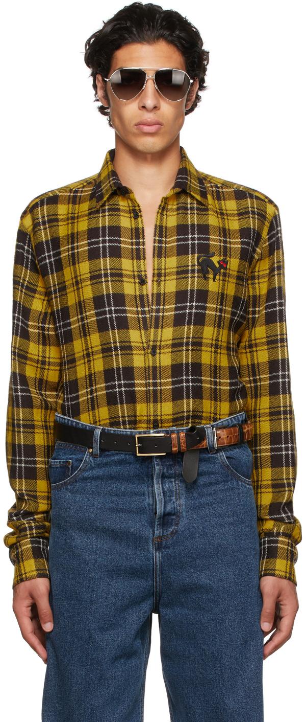 Photo: EGONlab Yellow Wool Tartan Shirt