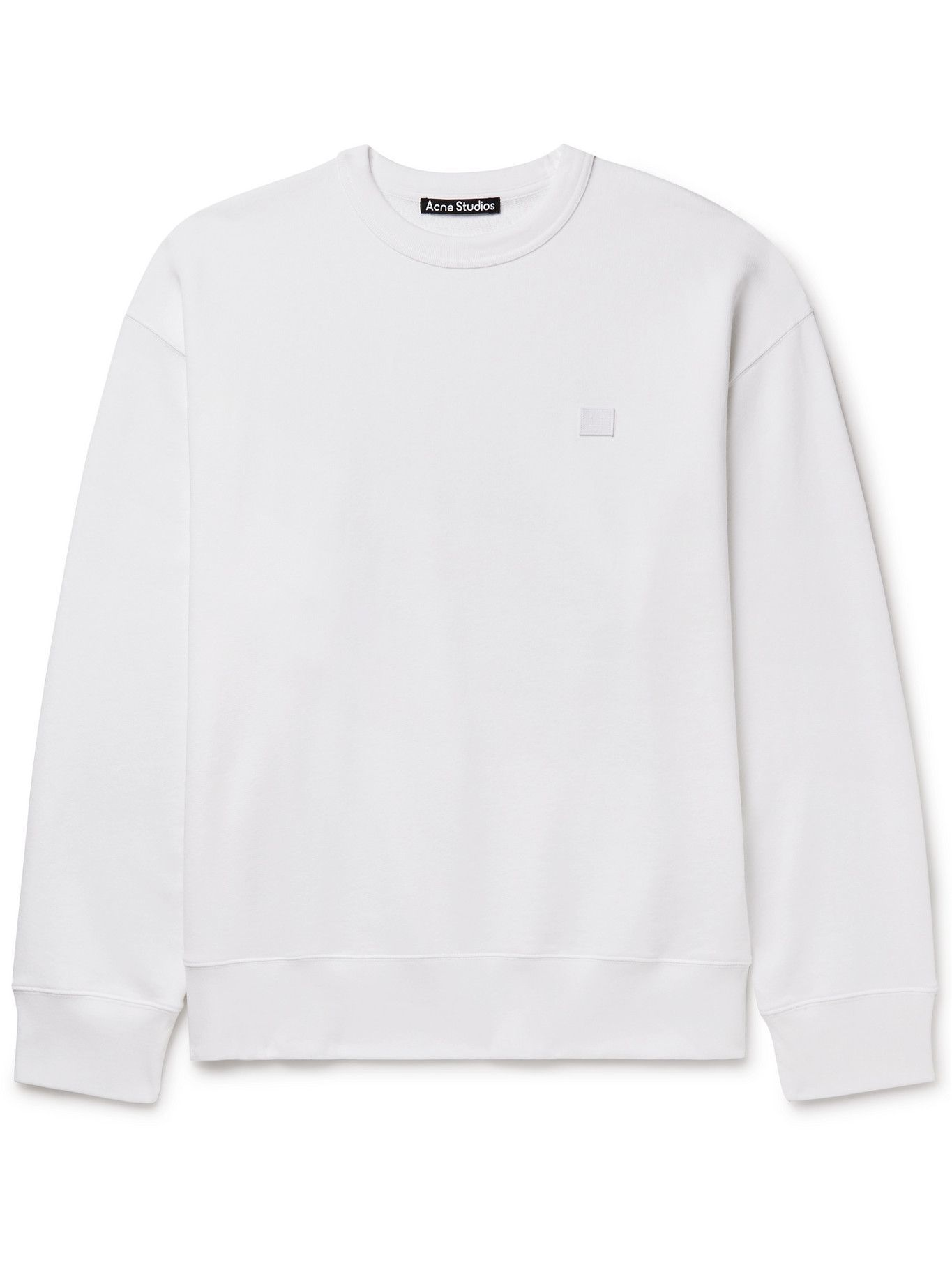 Photo: ACNE STUDIOS - Forba Logo-Appliquéd Cotton-Jersey Sweatshirt - White