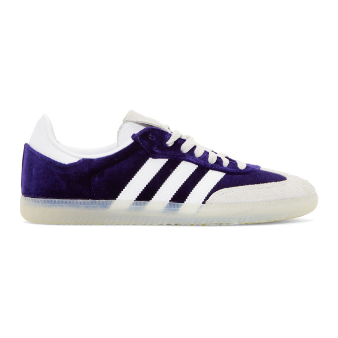Photo: adidas Originals Purple Velvet Samba OG Sneakers