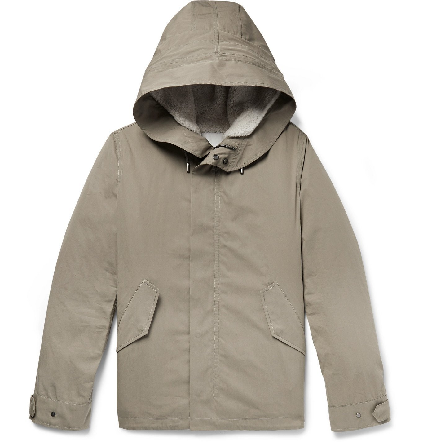 Photo: Yves Salomon - Cotton-Blend Hooded Down Parka with Detachable Shearling and Satin Lining - Brown