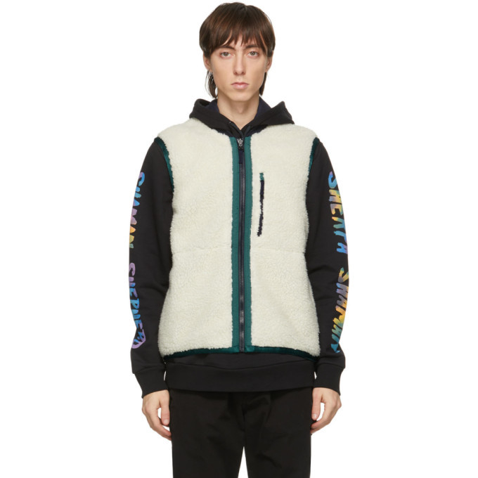 Photo: PS by Paul Smith Reversible Black Satin and Sherpa Vest