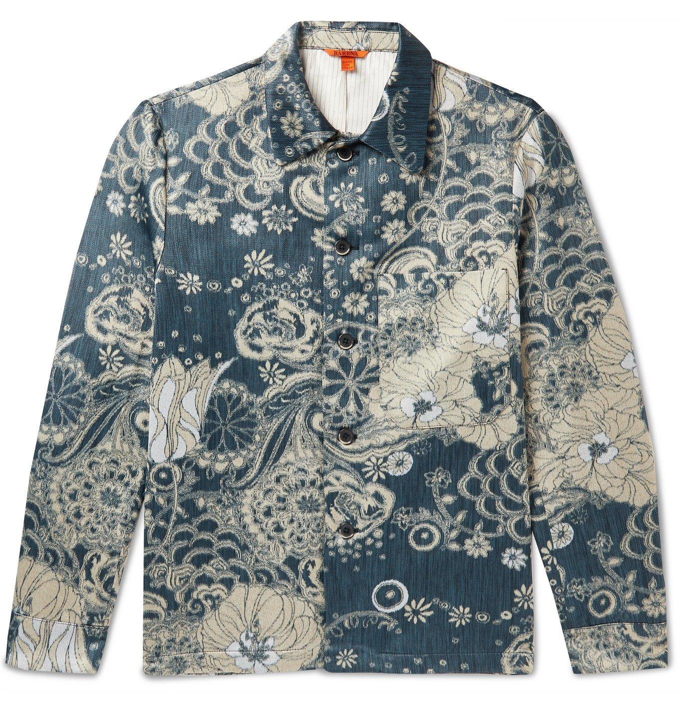 Photo: Barena - Murelo Giava Floral-Jacquard Wool-Blend Overshirt - Blue