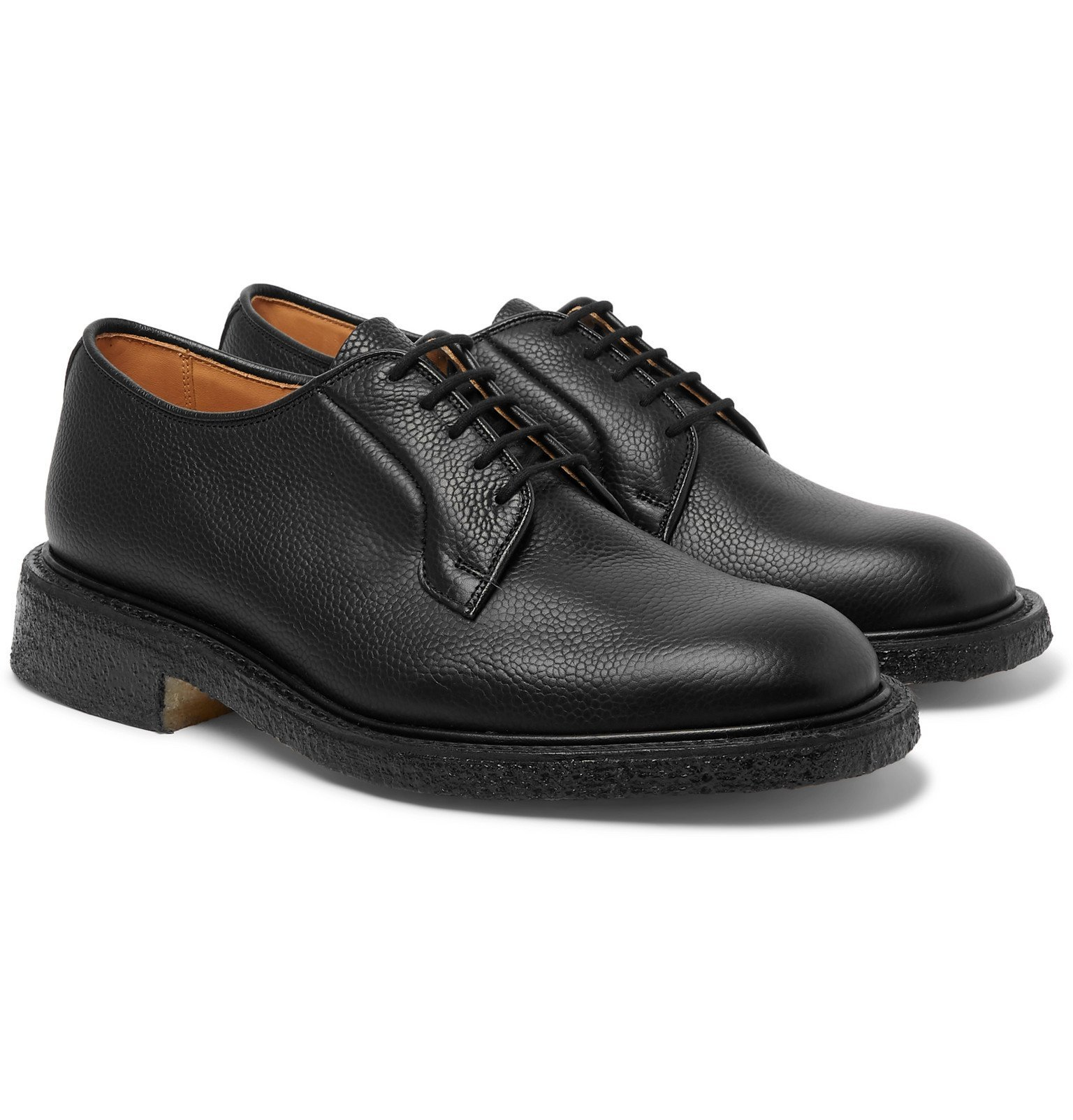 Photo: Tricker's - Robert Pebble-Grain Leather Derby Shoes - Black