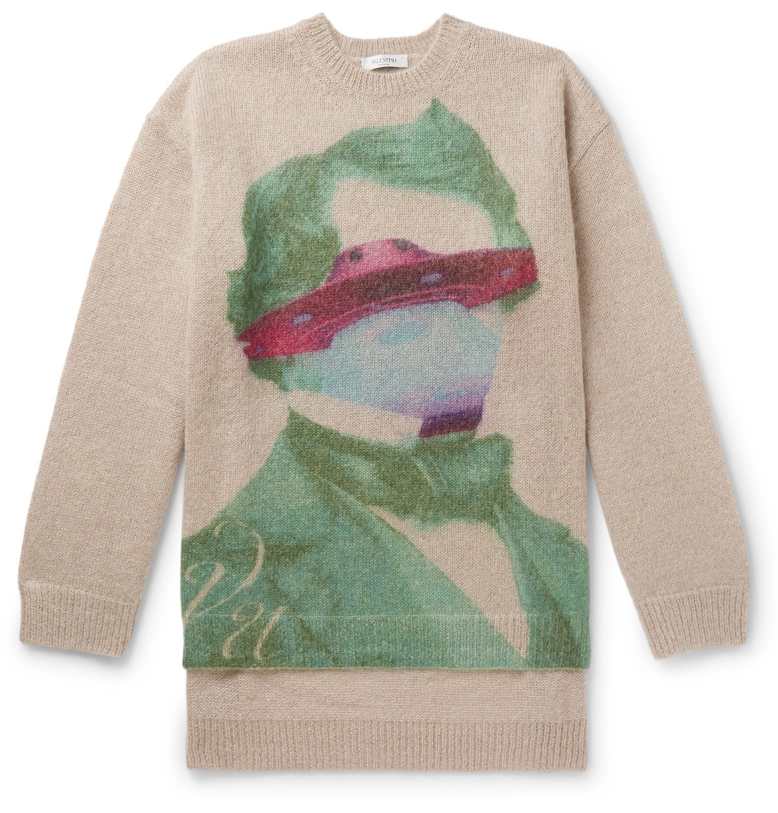 Photo: Valentino - Oversized Printed Mohair-Blend Sweater - Neutrals