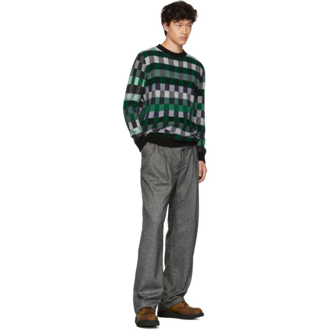The Elder Statesman Green Plaid Gees Crewneck Sweater