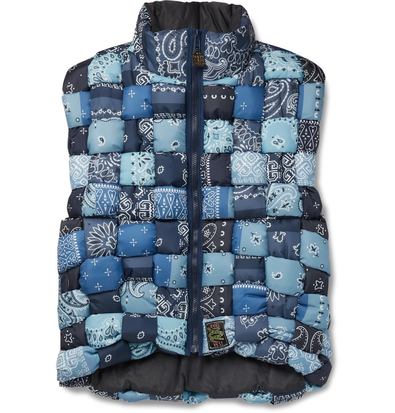 Photo: KAPITAL - Bandana-Print Woven Padded Shell Gilet - Blue