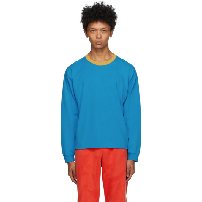 Photo: ERL Blue and Orange Jersey Long Sleeve Shirt