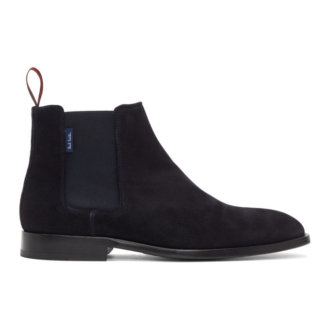 Photo: PS by Paul Smith Navy Suede Gerald Chelsea Boots