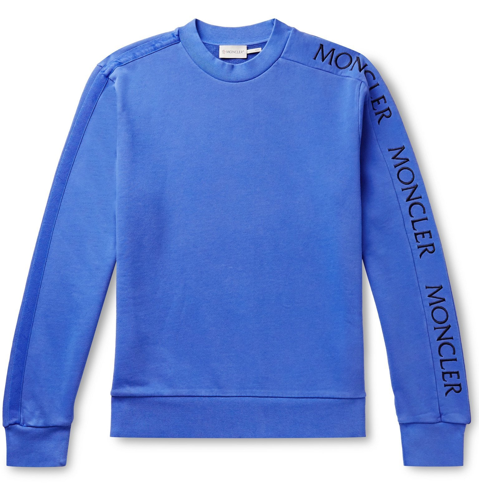 Photo: Moncler - Slim-Fit Logo-Embroidered Loopback Cotton-Jersey Sweatshirt - Blue