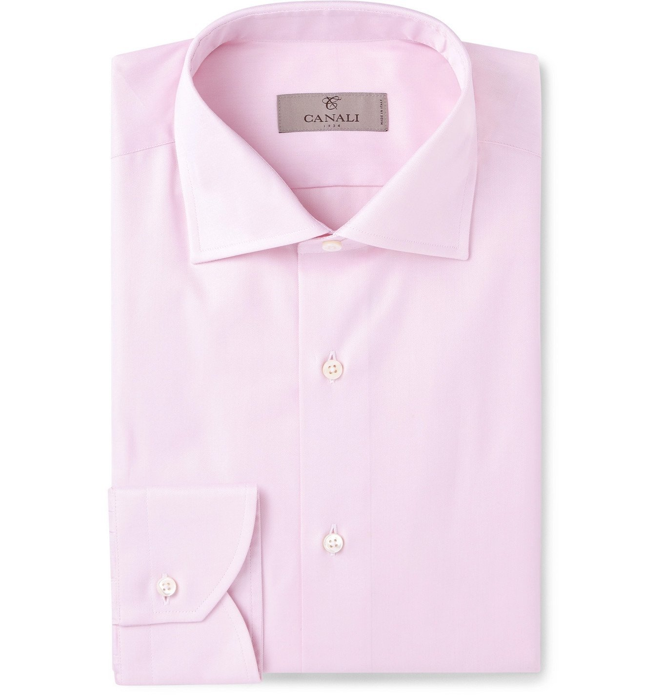 Photo: Canali - Pink Slim-Fit Cutaway-Collar Cotton-Twill Shirt - Pink