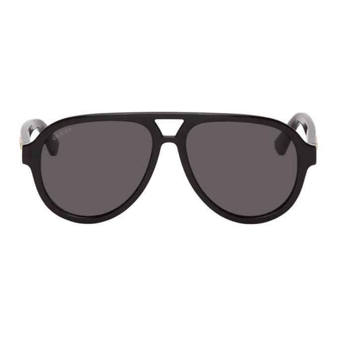 Photo: Gucci Black Aviator Sunglasses