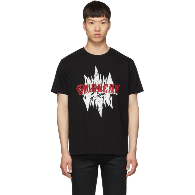 Photo: Givenchy Black Embroidered Snake T-Shirt