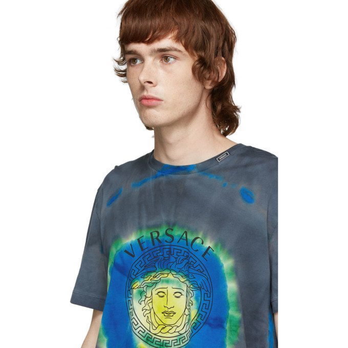 Versace Green and Multicolor Tie-Dye Medusa T-Shirt