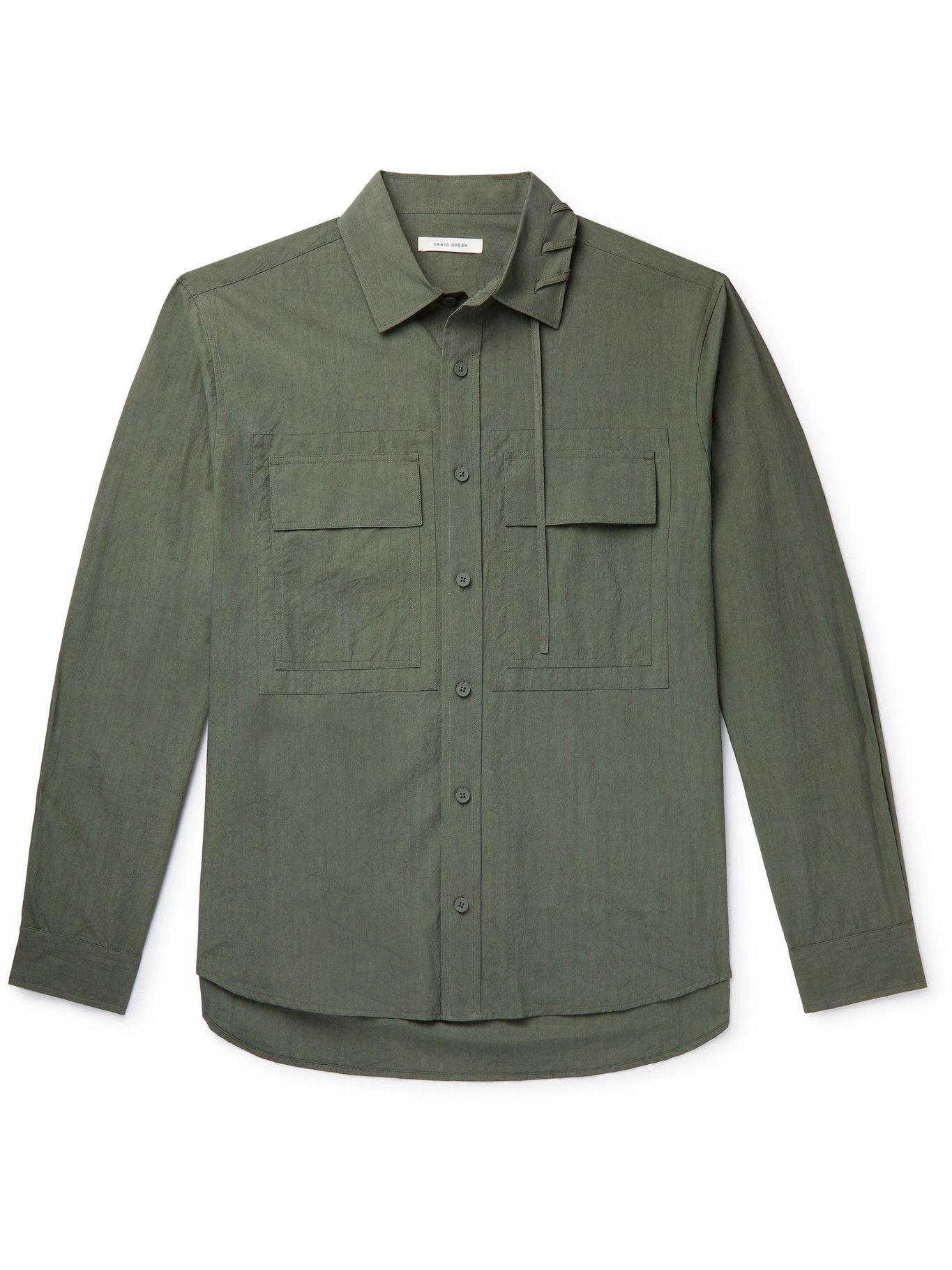 Photo: CRAIG GREEN - Lace-Detailed Cotton Shirt - Green