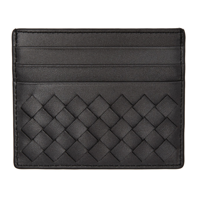 Bottega Veneta Grey Metallic Intrecciato Card Holder