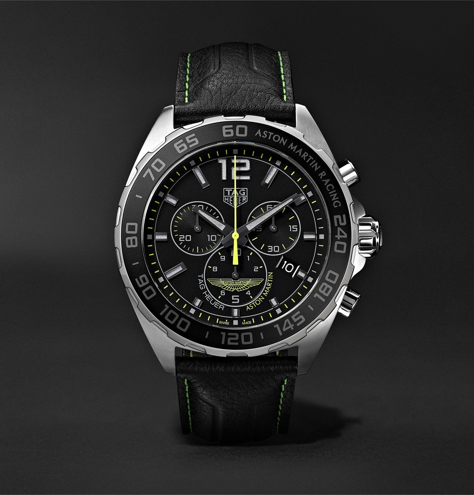 Photo: TAG Heuer - Formula 1 Limited Edition Aston Martin Quartz Chronograph 43mm Stainless Steel and Leather Watch, Ref. No. CAZ101P.FC8245 - Black