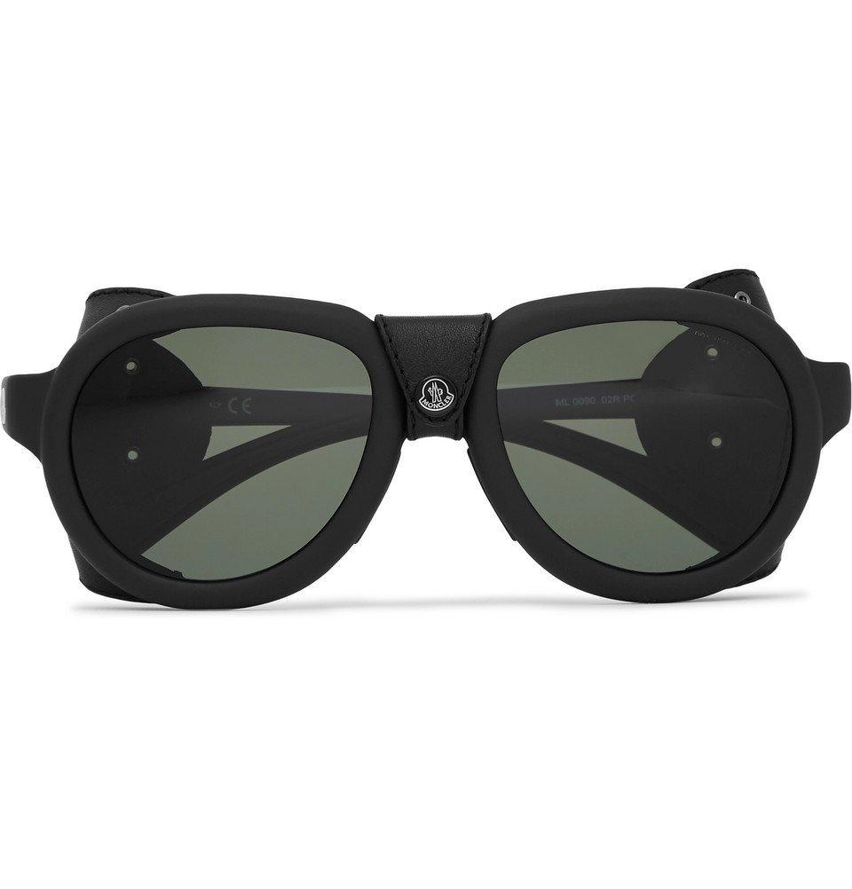 Photo: Moncler - Round-Frame Leather-Trimmed Acetate Polarised Sunglasses - Black
