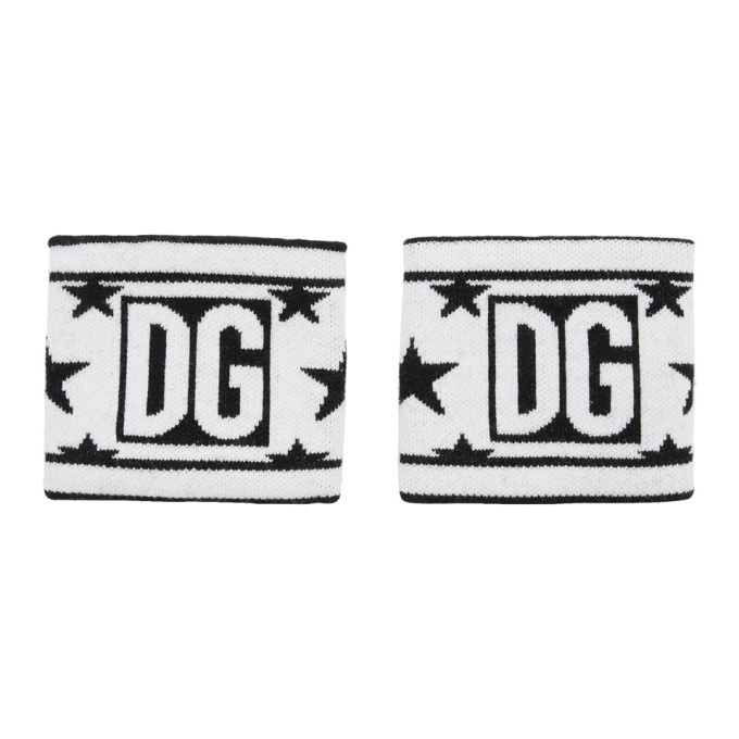 Photo: Dolce and Gabbana White and Black Wool Millennial Star Wristbands