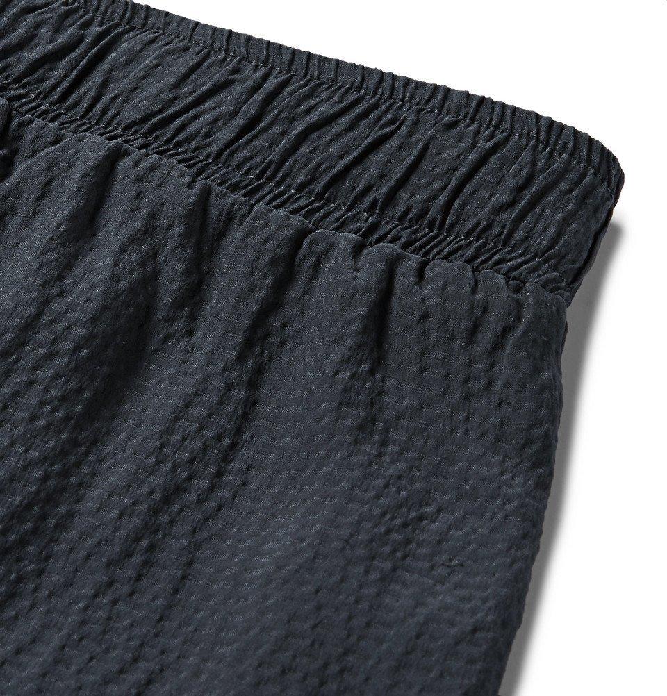 The Elder Statesman - Hammered-Silk Drawstring Shorts - Blue