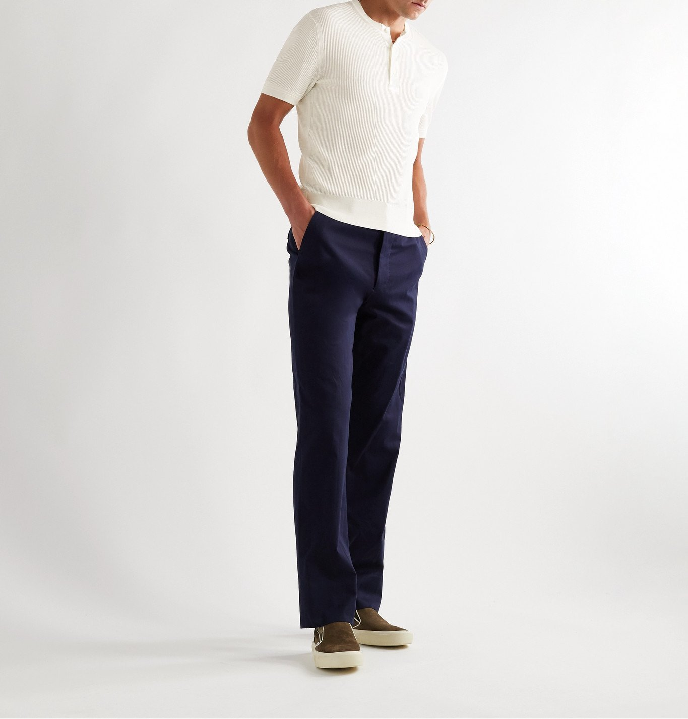 TOM FORD - Satin-Trimmed Ribbed Silk Henley T-Shirt - White