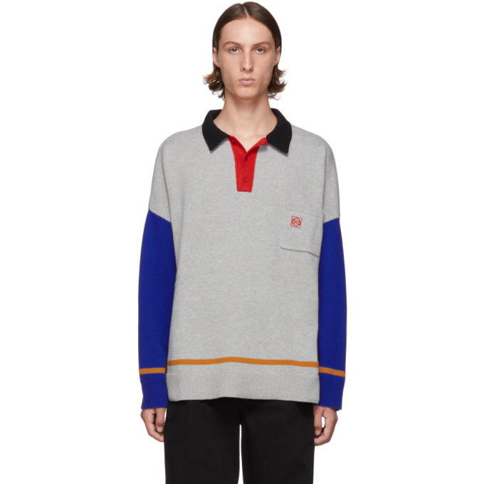 Photo: Loewe Grey and Blue Cashmere Long Sleeve Polo