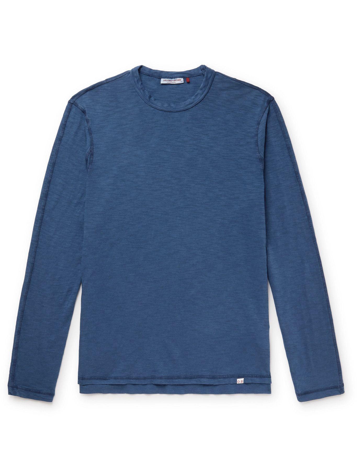 Photo: ORLEBAR BROWN - Sammy Garment-Dyed Cotton T-Shirt - Blue
