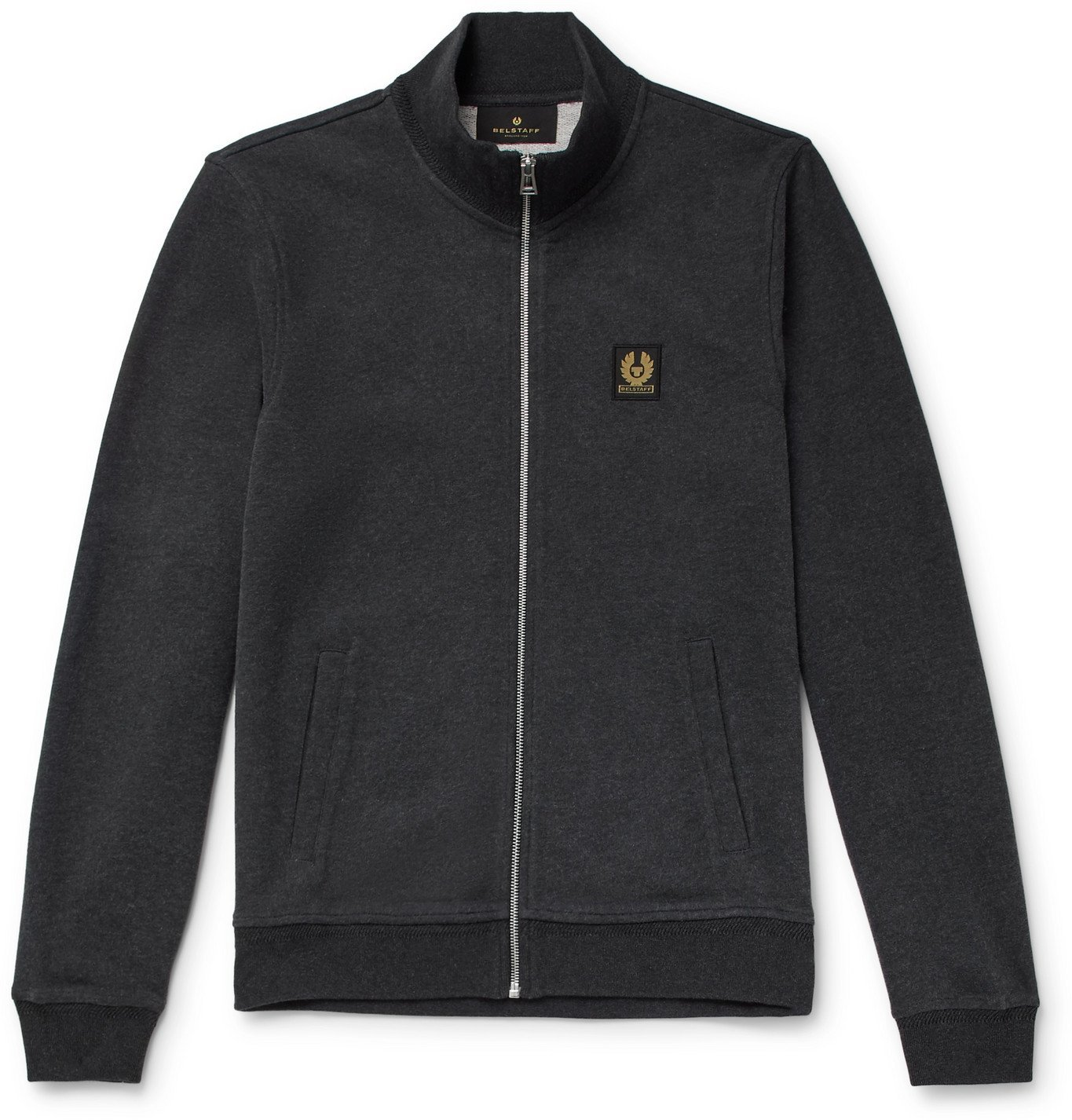 Photo: Belstaff - Mélange Cotton Zip-Up Sweatshirt - Gray