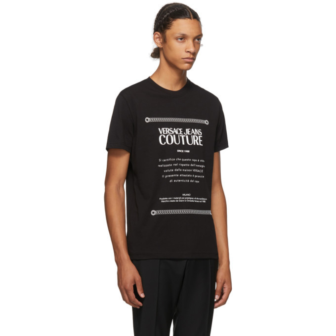 Versace Jeans Couture Black and White Warranty Label T-Shirt