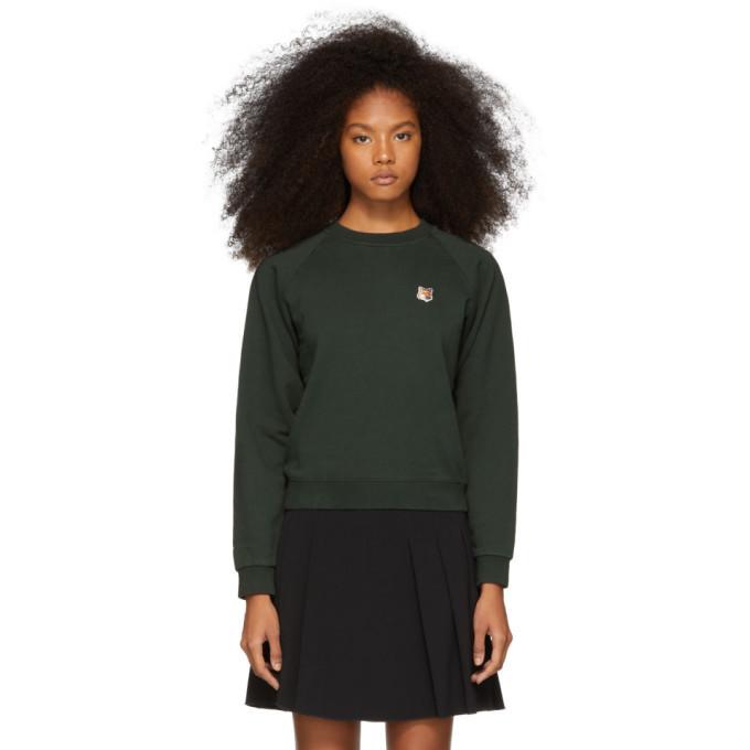 Photo: Maison Kitsune Green Fox Head Patch Sweatshirt