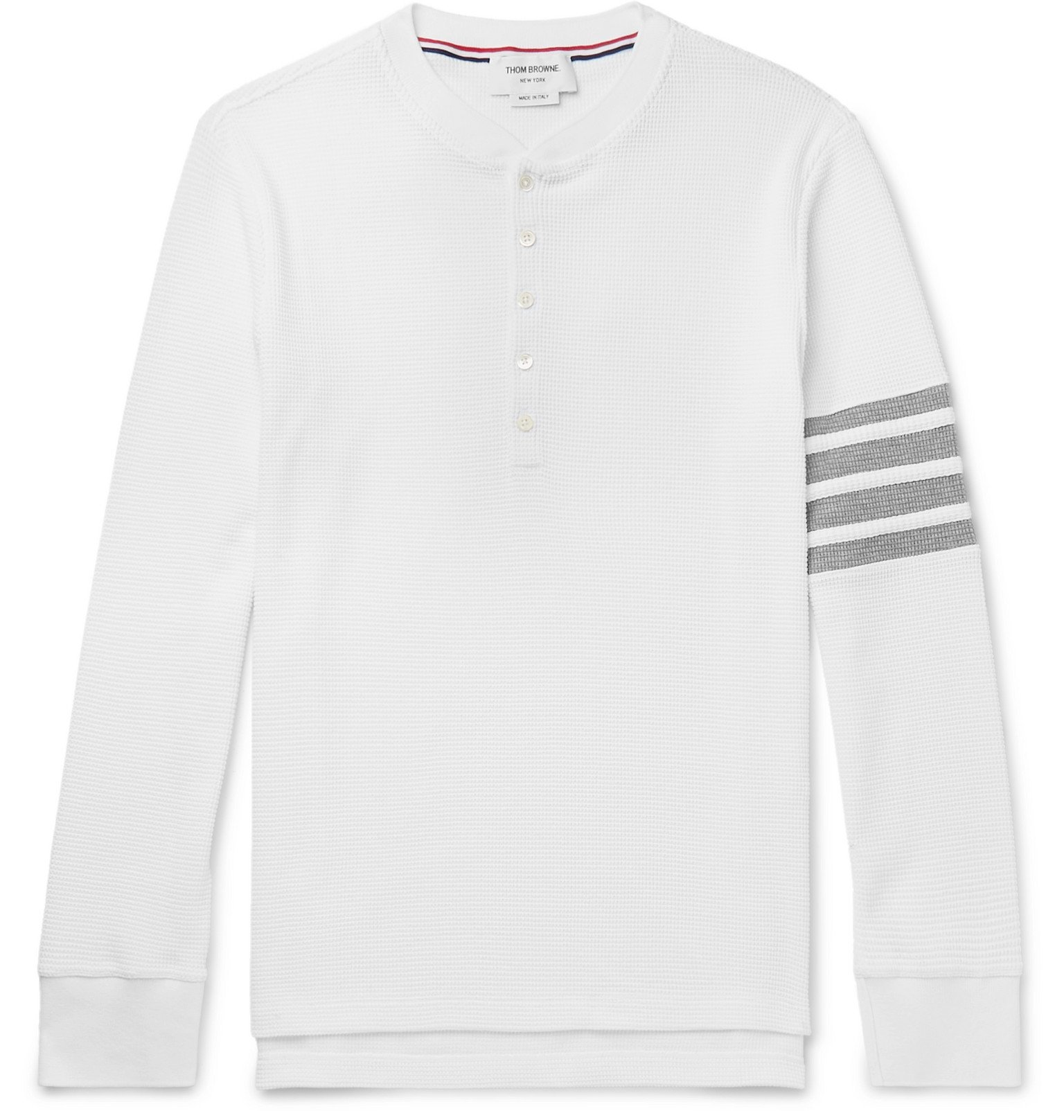 Photo: Thom Browne - Striped Waffle-Knit Cotton Henley T-Shirt - White