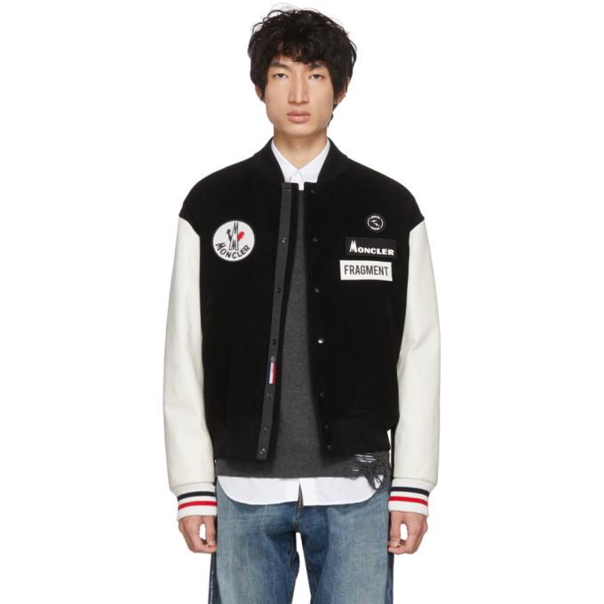 Moncler Genius 7 Moncler Fragment Hiroshi Fujiwara Black and White Corduroy Down Bomber Jacket
