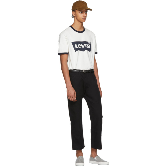 Junya Watanabe Off-White and Navy Levis Edition Logo T-Shirt