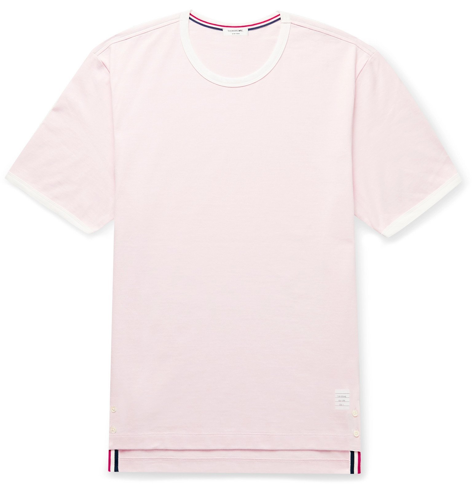 Photo: Thom Browne - Contrast-Tipped Cotton-Jersey T-Shirt - Pink