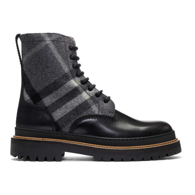 Photo: Burberry Black and Grey Check Shearling William Boots