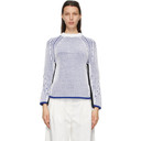 3.1 Phillip Lim White and Blue Two-Tone Sweater