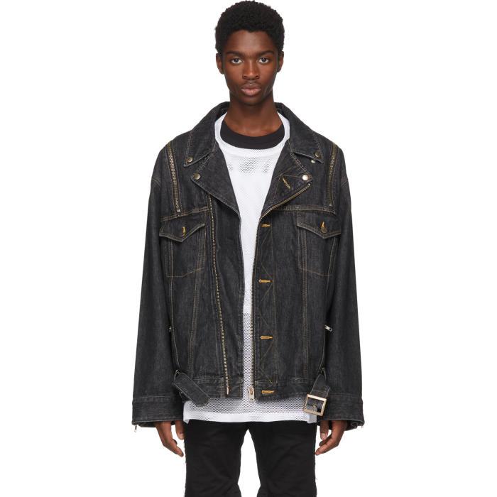 Photo: Facetasm Black Denim Zip Sleeve Jacket