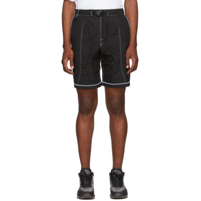Photo: John Elliott Black High Shrunk Nylon Mountain Shorts
