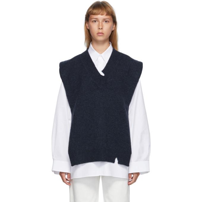 Photo: Maison Margiela Navy Wool Destroyed V-Neck Vest
